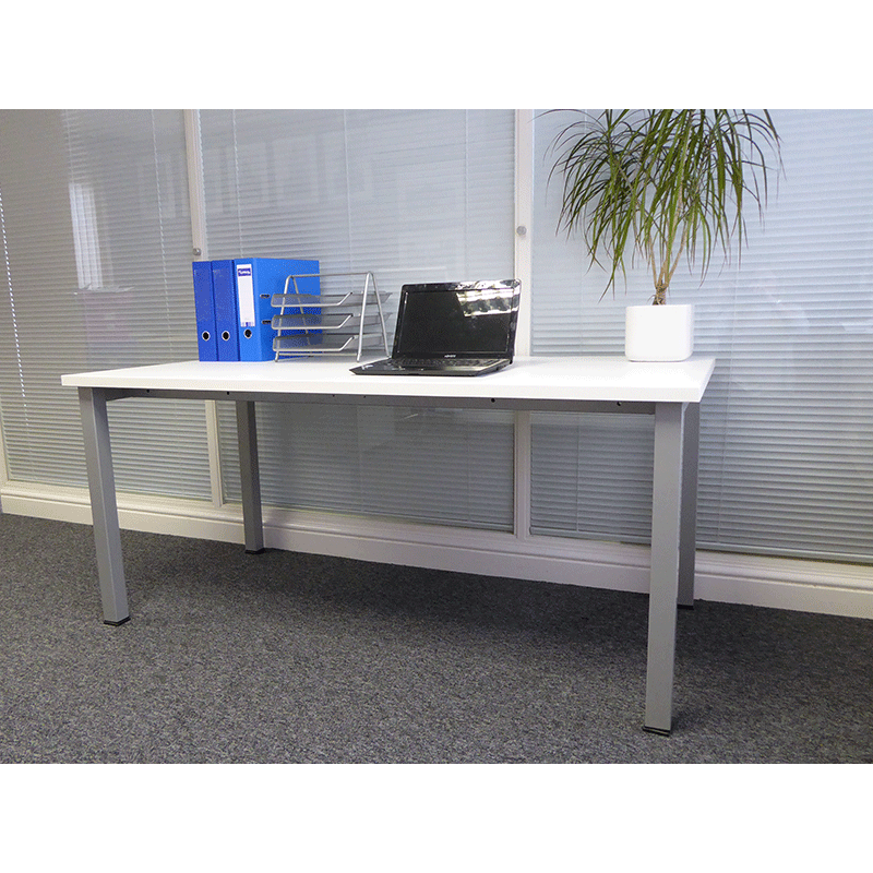 1600 White Rectangle Office Desk with Post Legs