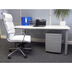 White Rectangle Desk with Post Legs