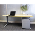 Maple Wire Managed Rectangular Office Desk
