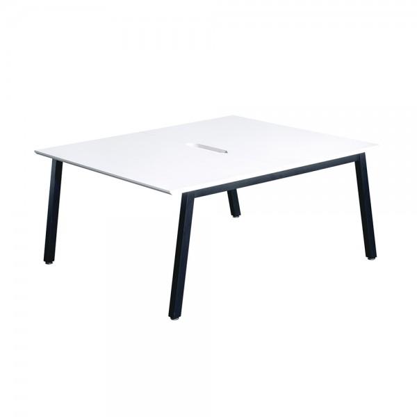 White Bench Desks - 2 Person