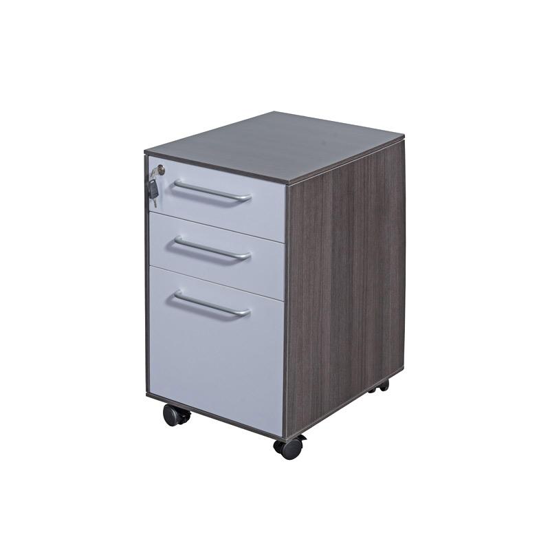 Dark Grey Wood Executive 3 Drawer Mobile Pedestal