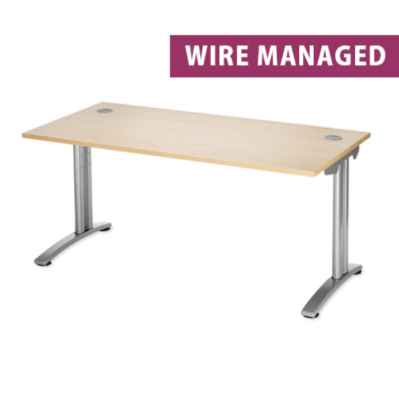Maple Wire Managed Rectangular Office Desk