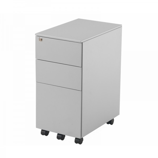 Silver Slimline 3 Drawer Mobile Pedestal