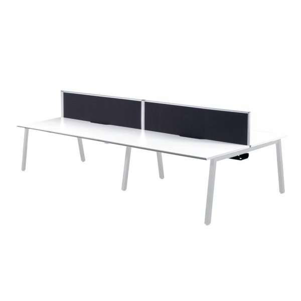 White Bench Desks White Frame - 4 Person
