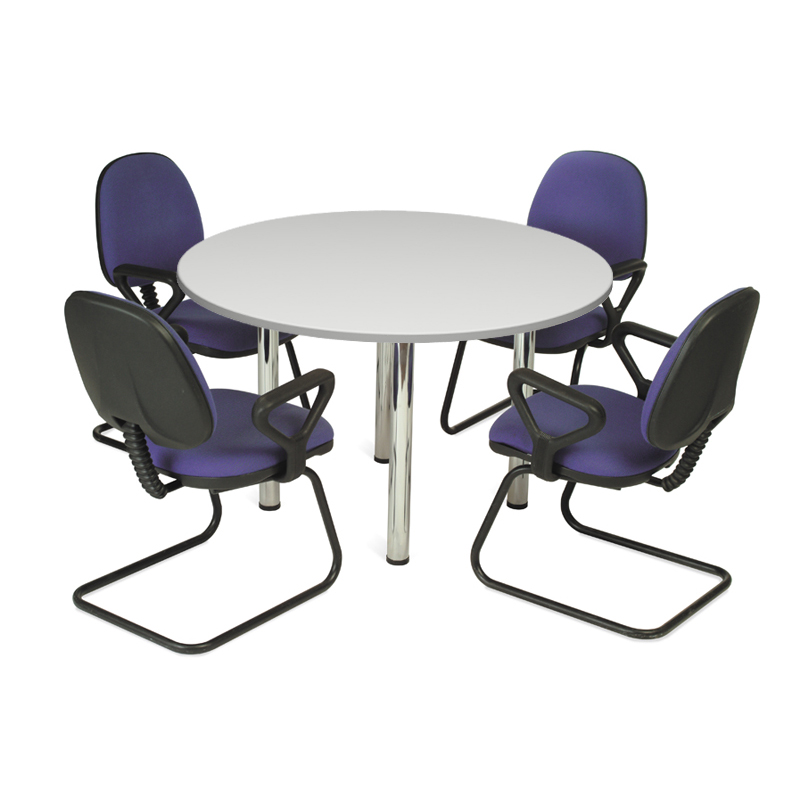 White Circular Meeting Table