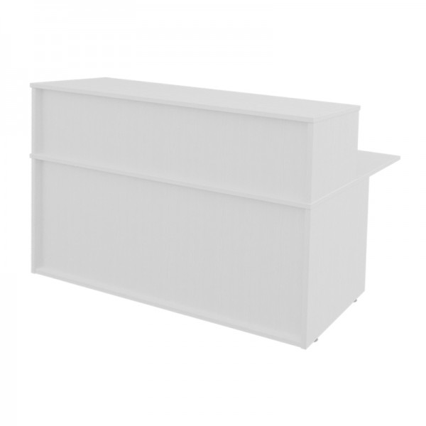 White Reception Desk with Top Box - Small