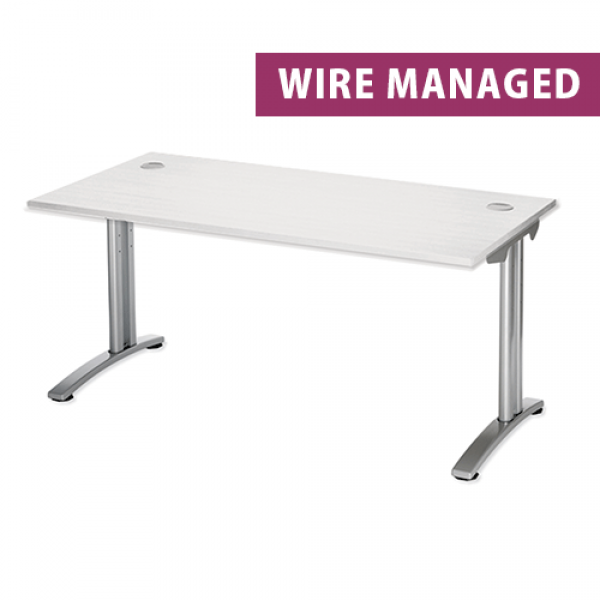 White Wire Managed Rectangular Office Desk