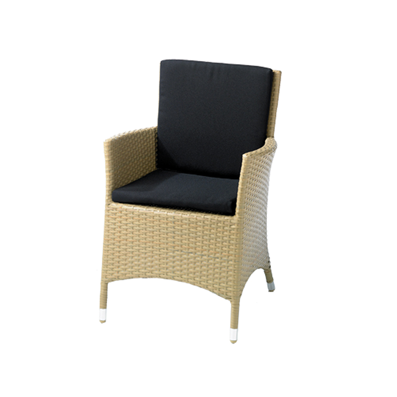 Wicker Garden Armchair with Black Seat Pads