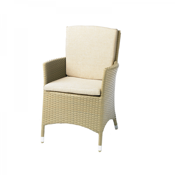 Wicker Garden Armchair with Natural Seat Pads