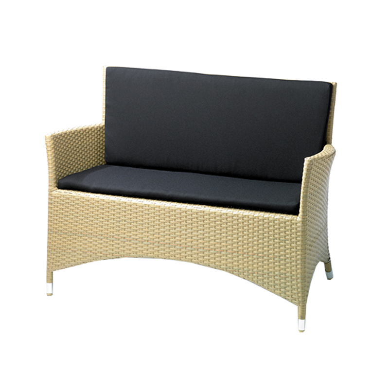 Wicker Garden Sofa with Black Seat Pads