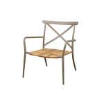 Taupe Aluminium Outdoor Chair with Rattan Seat
