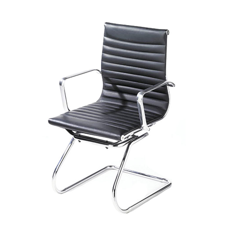 Black Ribbed Eames Style Cantilever Chair