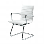 White Ribbed Meeting Chair