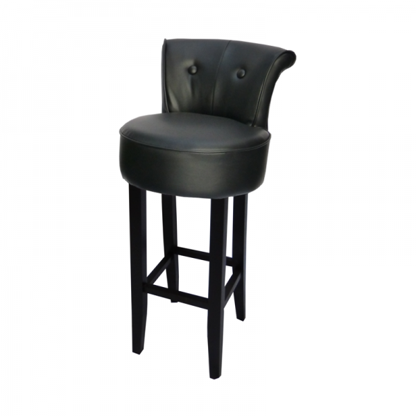 George Black Leather Bar Stool