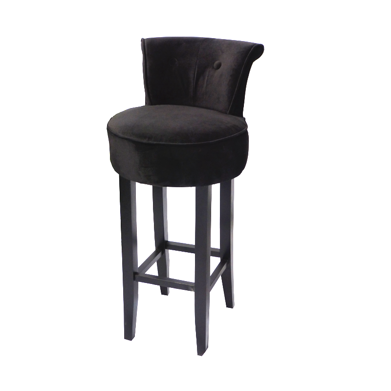 George Black Velvet Bar Stool