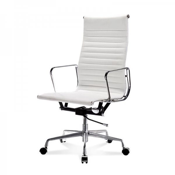 White Eames Style Ribbed Executive Chair