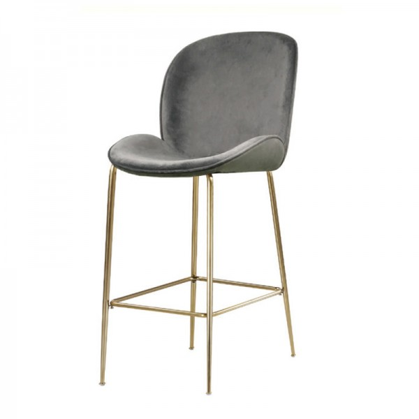 Coco Grey Velvet Bar Stool