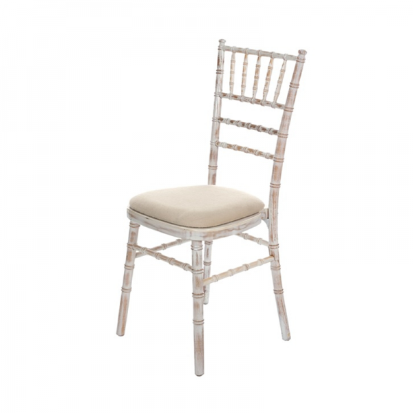 Limewash Chiavari Chair - Cream Seat Pad