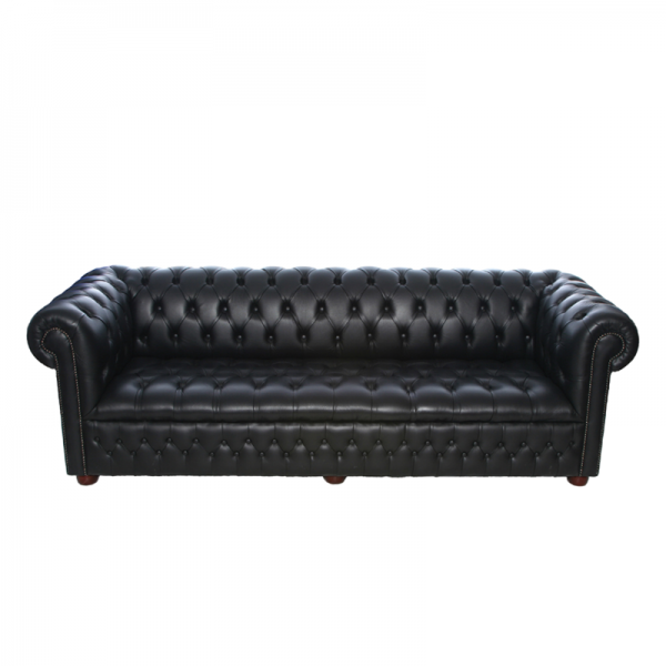 Black Chesterfield Style Sofa - 3 Seater