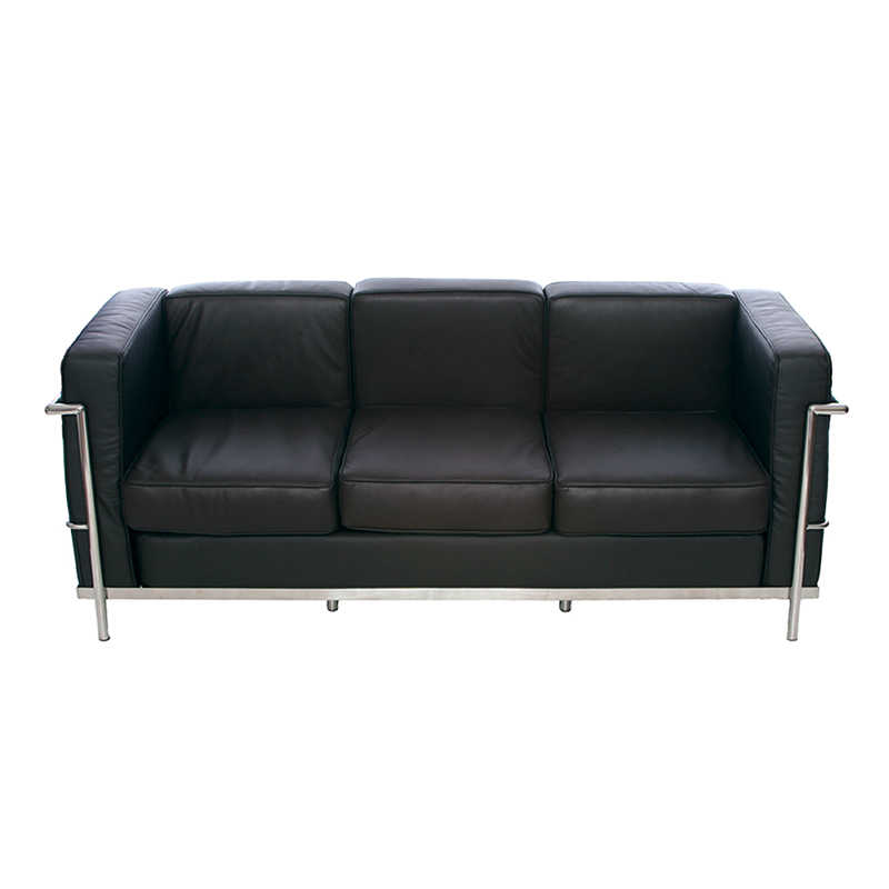 Black Le Corbusier Style 3 Seater Sofa