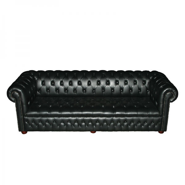 Black Chesterfield Style Sofa - 4 Seater