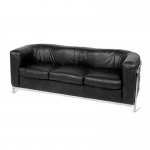 Black Rounded  3 Seater Sofa