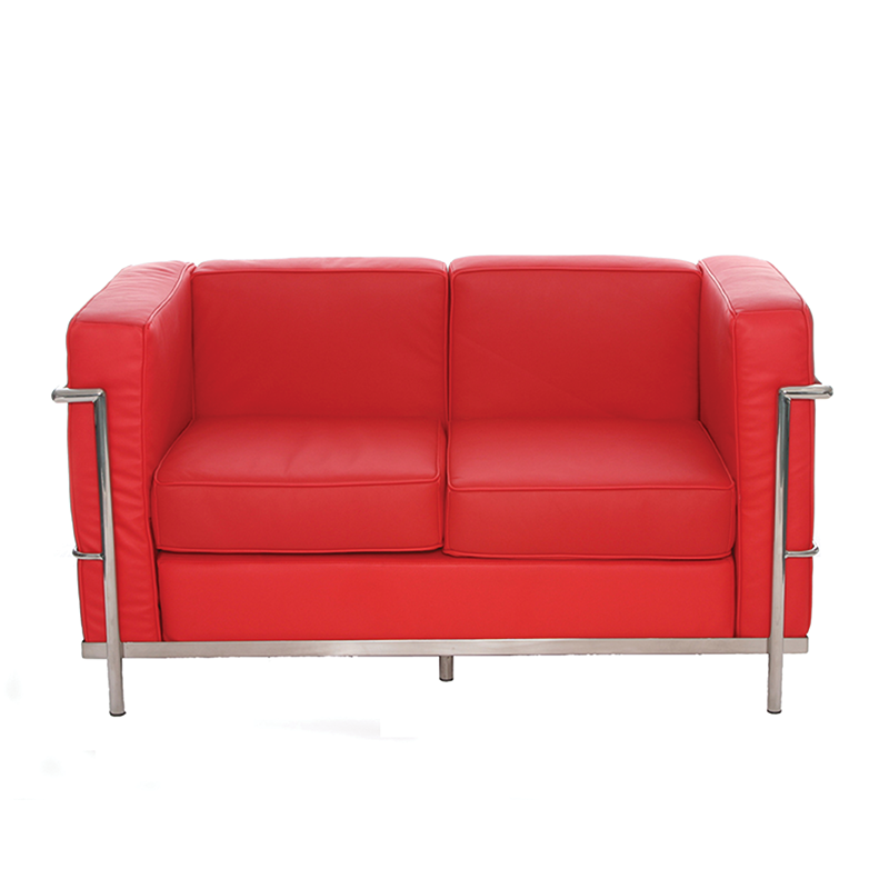 Red Le Corbusier Style 2 Seater Sofa