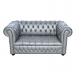 Silver Chesterfield Style Sofa - 2 Seater