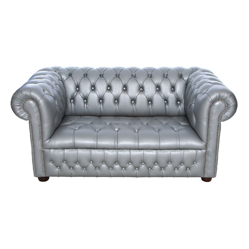 Silver Chesterfield Style Sofa 2 Seater