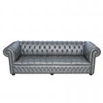 Silver Chesterfield Style Sofa - 4 Seater
