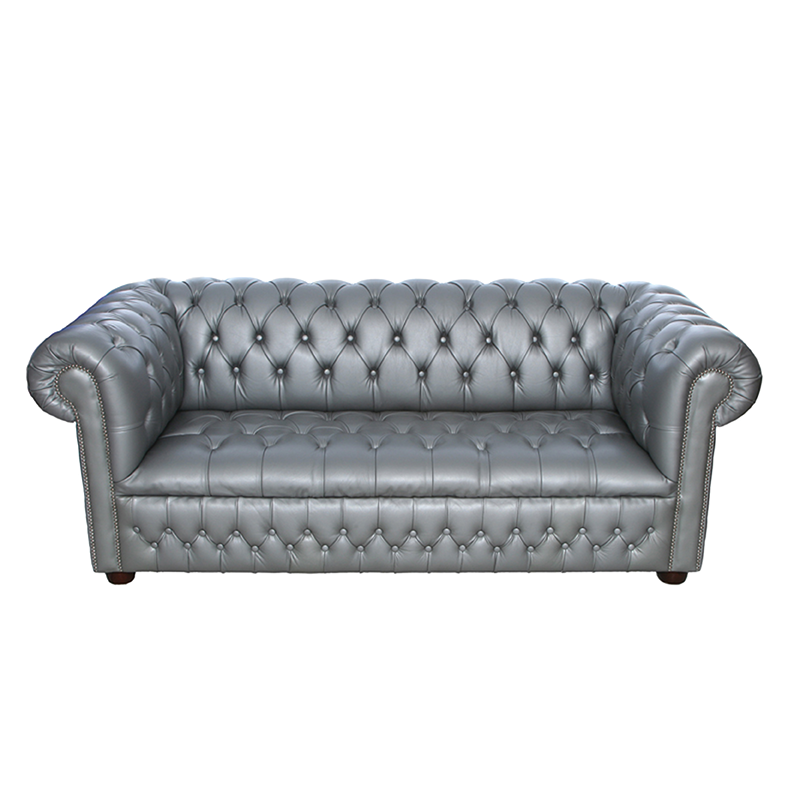 Silver Chesterfield Style Sofa - 3 Seater