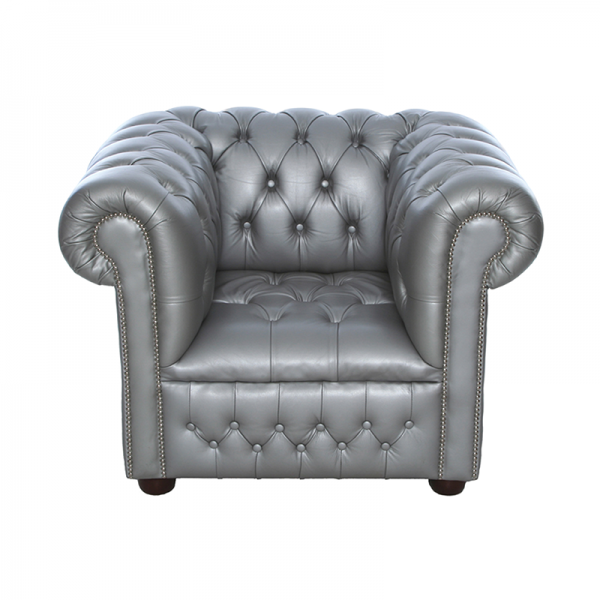 Silver Chesterfield Style Armchair