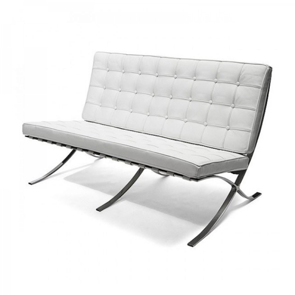 White 2 Seat Barcelona Style Chair