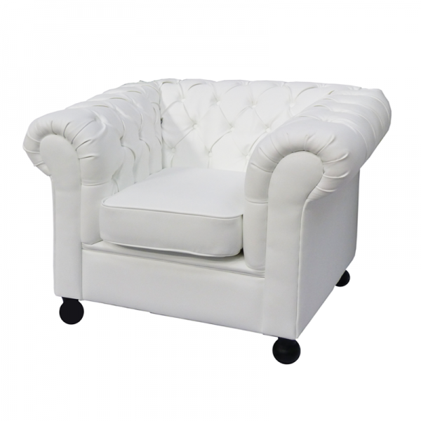 White Leather Chesterfield Style Armchair with Cushioned Seat