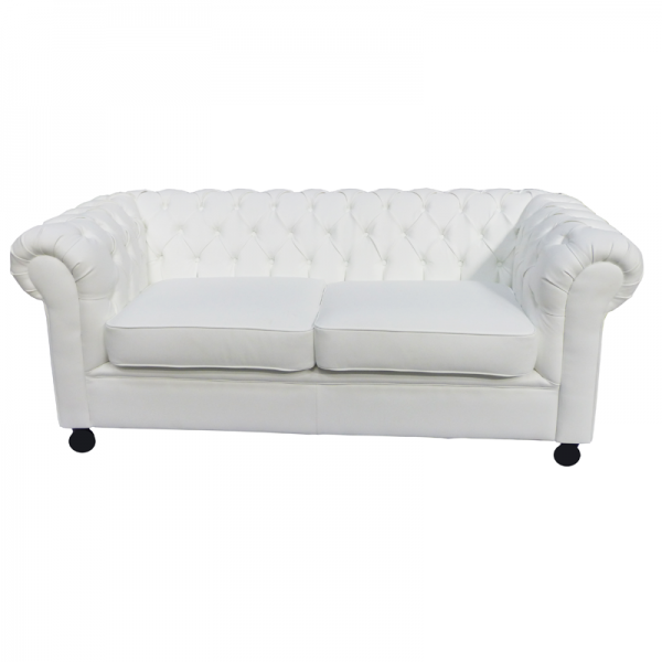 White Leather Chesterfield Sofa Cushioned Seat