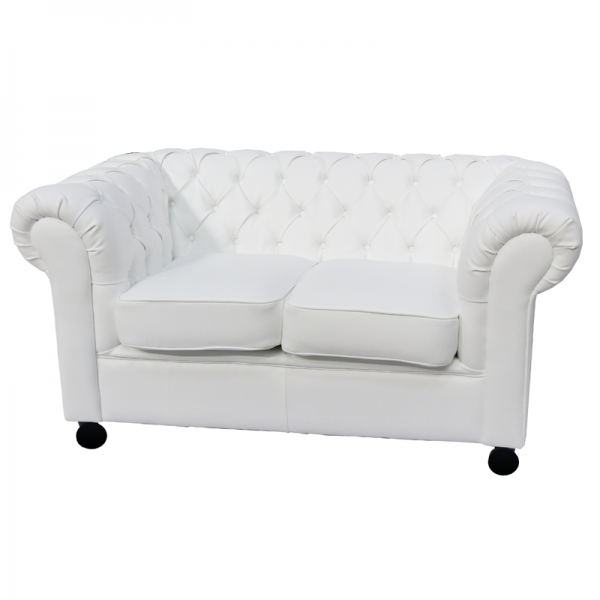 White Leather Chesterfield Style Sofa with Cushioned Seat - 2 Seater