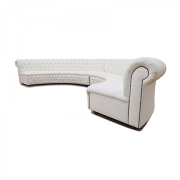 White Chesterfield Style Curved Sofa