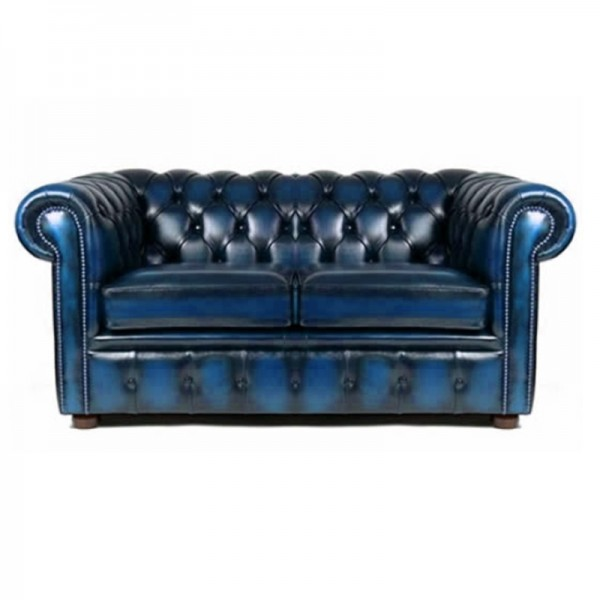 Antique Blue Chesterfield Style 2 Seat Sofa