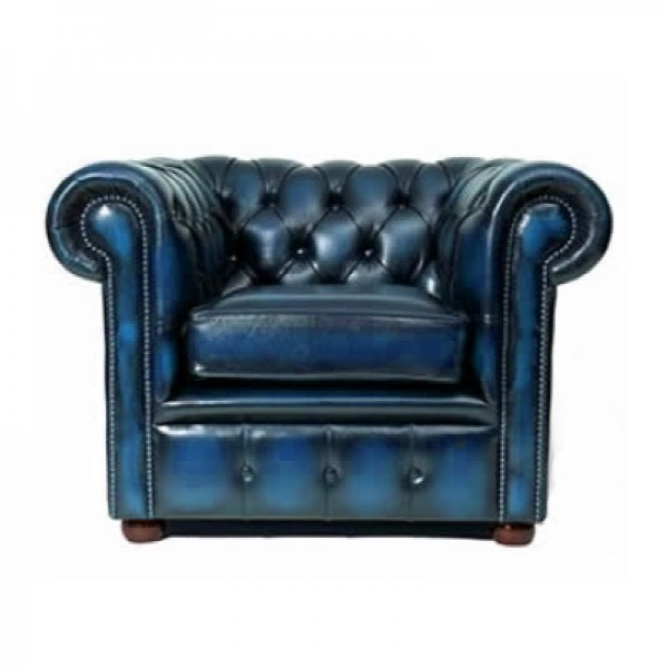 Antique Blue Chesterfield Style Armchair
