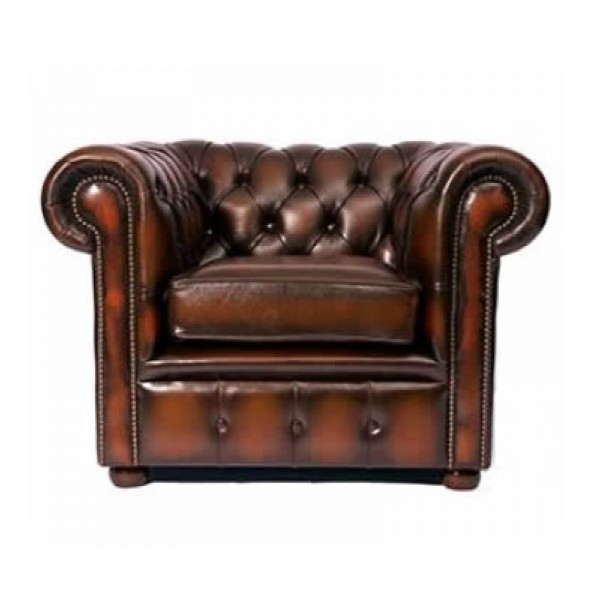 Antique Brown Chesterfield Style Armchair