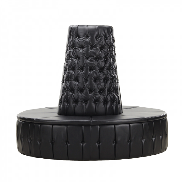 Black Leather Chesterfield Doughnut Tower