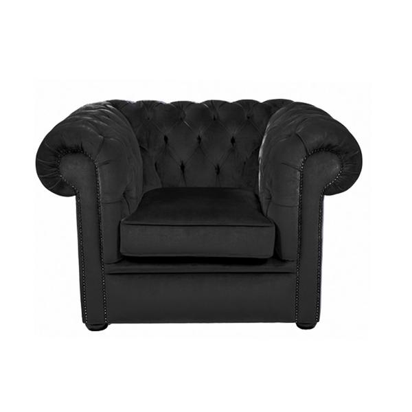 Black Velvet Chesterfield Style Armchair