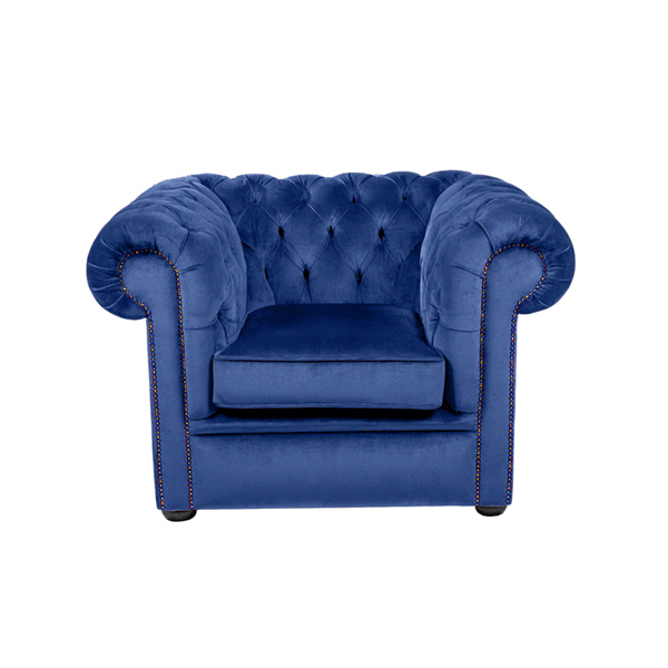 Royal Blue Velvet Chesterfield Style Armchair