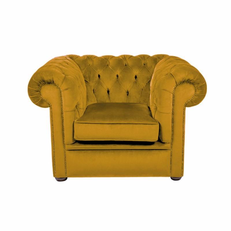 Gold Velvet Chesterfield Style Armchair