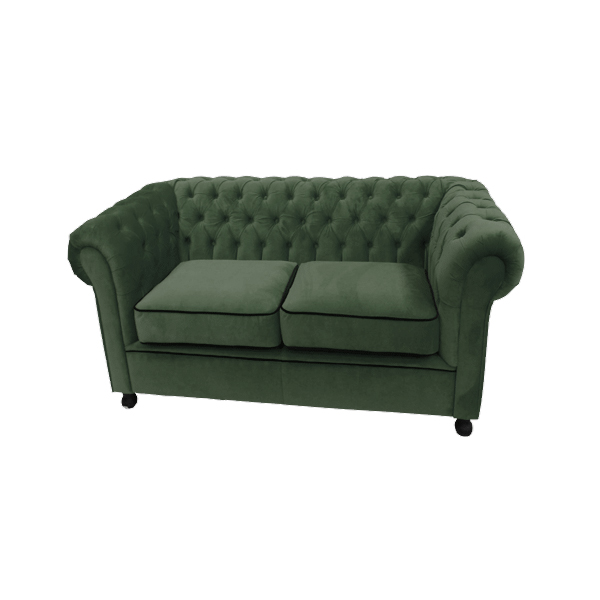 Green Velvet Chesterfield Style 2 Seat Sofa
