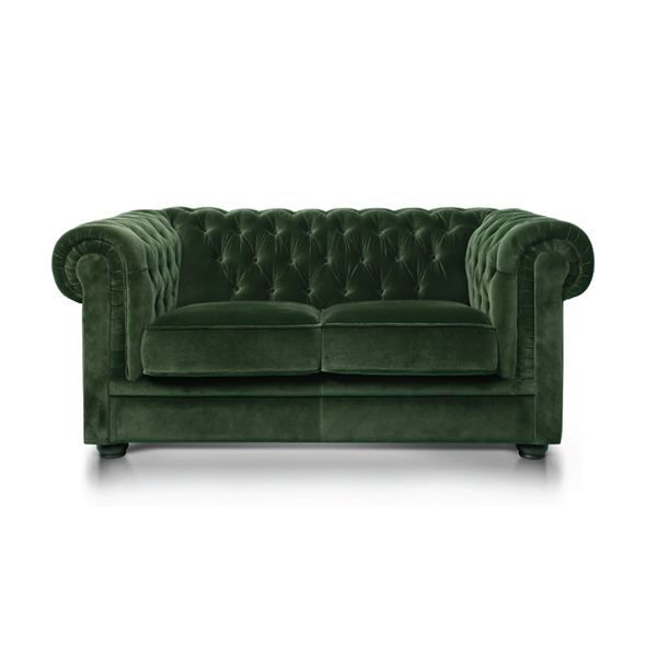 Green Velvet Chesterfield Style 2 Seat Sofa