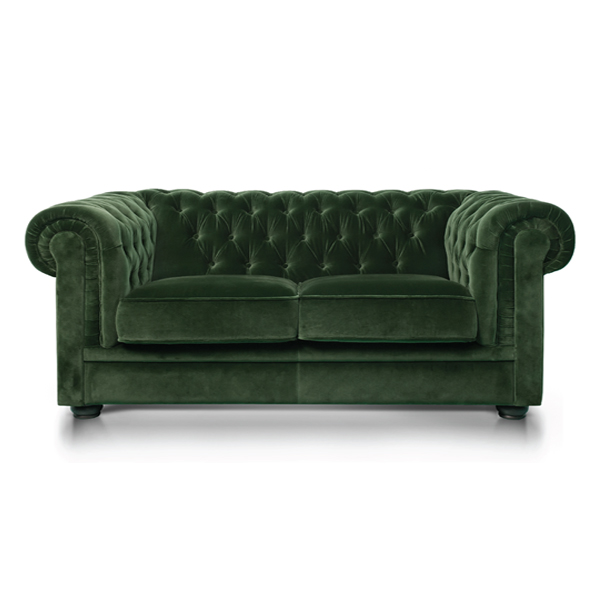Green Velvet Chesterfield Style 3 Seat Sofa