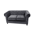 Grey Velvet Chesterfield Style 2 Seater Sofa