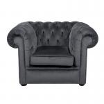 Grey Velvet Chesterfield Style Armchair