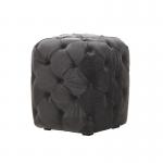 Grey Velvet Chesterfield Style Pouffe